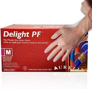 Aurelia Delight Clear Disposable Gloves Vinyl Powder Free Examination Box 100