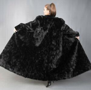 9651 GORGEOUS REAL BLACK MINK COAT SWINGER EXTRA LONG BEAUTIFUL LOOK SIZE 3XL