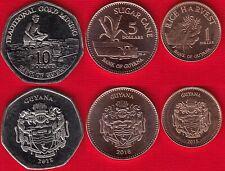Guyana set of 3 coins: 1 - 10 dollars 2015-2018 UNC
