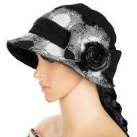 Black Women Winter Wool Cloche Bucket Hat Dress Church Cap With Bow Flower Band