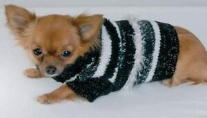 "Doggiduds Party Time Black & White Turtleneck Sweater 7-9"" Length Fuzzy Warm New"