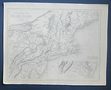 Bartlett • N.P. Willis's 1840 North Eastern part of the USA Map. W. Hughes, eng.