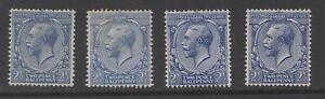 GV - SG422. 2 1/2d blue varieties. N37(1)-N37(4). All 4 shades, unmounted mint.