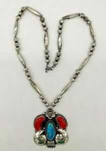 Vintage Native American Turquoise and Coral Necklace