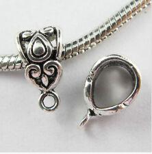 Free 15Pcs Tibetan Silver Spacer Bail Beads Charms Pendant Fit Bracelet 14x8mm