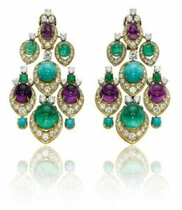 925 Sterling Silver White Natural Multi-color Gemstone Vintage Style Earrings