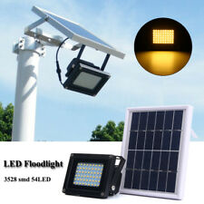 Solar 54 LED Light Sensor Flood Spot Lamp Garden Outdoor Waterproof Warm White