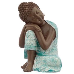 Buddha Figure - Turquoise & Brown Buddha - Contemplation