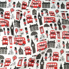 Polycotton Fabric Hey! London Big Ben Double Decker Phone Box Foot Soldier