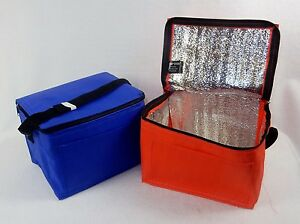 Nylon Insulated Lunch Box Tote ~ 8 x 5 x 5, Foil Lined, Red or Blue, #LT-4325