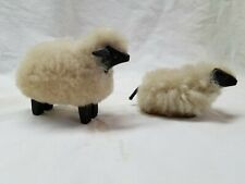 Wool covered sheep family of 2, 3 1/2 inches long.