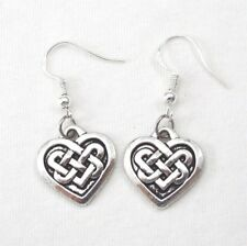 925 Sterling Silver Hooks Vintage Silver Alloy Irish Love Celtic Knot Earrings