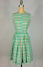 Vintage early 60's 1960s spring pastel green plaid cotton dress w/clear buttons