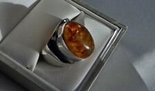 Petite, pretty! 7g sterling silver 925 stamped amber cabochon ring size J.5 US 5