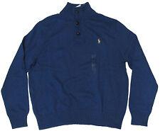 Polo Ralph Lauren Mens Pony Logo Heavy Knit Cotton Blue Green Mockneck Sweater