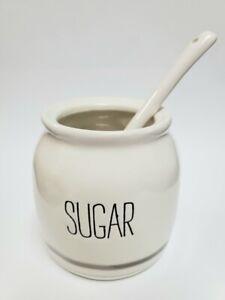 "Mud Pie E1 Coffee Kitchen Ceramic Bistro 3.5""d Sugar Pot  With 5.3"" Spoon DEFECT"