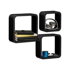 Premier Housewares Set of 3 Wall Cubes Shelves Storage Black Rounded Corners