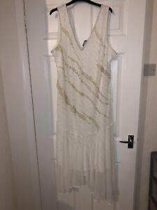 Ladies Size 24 Designer Joanna Hope Evening Dress Cream With Sequin Decoration