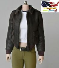 "1/6 female leather bomber jacket for 12"" figure doll phicen hot toys kumik ❶USA❶"