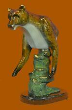 Hand Made Bronze Sculpture Collector Edition Hot Cast Cougar Puma Base Art Decor
