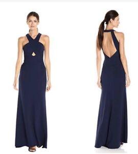NWT BCBGMAXAZRIA Womens Salome Navy Halter Formal Evening Dress Gown SZ 10