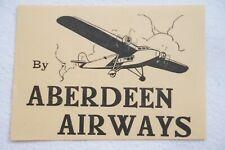 Aberdeen Airways Airline Luggage Label