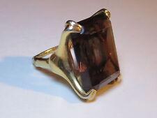 Vintage Vendome Signed Chunky Ring w/Large Topaz Glass Stone Sz 8-9 Gold Tone