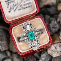 Vintage Antique 2.00 CT Emerald & Round Diamond Ring In 14K White Gold Over