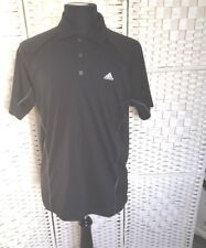 Adidas Men's T- Shirt Size M   Black  100% Polyester Collared Great Condition
