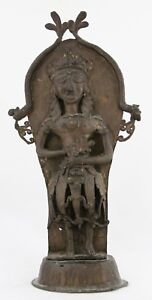 antique 19th C bronze Burial Statue, Bali Java Indonesia or Hindu Deity & Naga