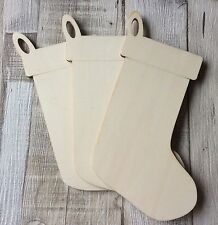 3 laser cut pretty wood large 20cm stocking shape christmas decorations tags