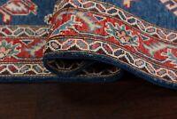 "NAVY BLUE/RED 10 ft. Super Kazak Geometric Wool Oriental Runner Rug 9' 7 x 2' 9"""