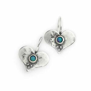 Hand Made Aviv Jewellery Sterling Silver Heart Opal Earring ASE083