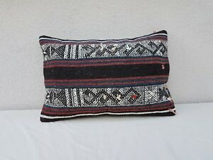 16'' X 24'' Vintage Turkish Handwoven Wool Decorative Couch Kilim Pillow Cover
