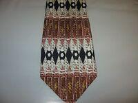 HOLLYWOOD TIE 56 x 4 Brown Black White SILK Necktie (12872) Free US Ship