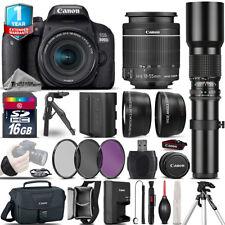 Canon Rebel 800D T7i Camera + 18-55mm + 500mm + EXT BAT + 1yr Warranty -16GB Kit