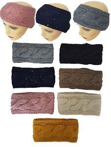 Beautiful Women Sequin Knitted Winter Ear Warmer Double Sided Hair Head Band