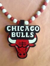 STUNT Chicago Bulls Red White Necklace Wooden Chain Stuntin Supreme Jordan 23