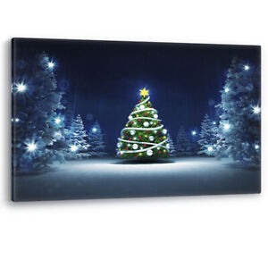 Christmas Tree Winter Snow Glittering Magic Large Canvas Wall Art Picture Print