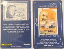 ITALIA 1998- TESSERA FILATELICA PADRE PIO-