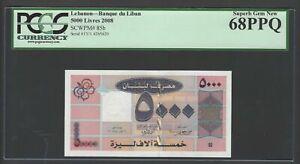 Lebanon 5000 Lira 2008 P85d Uncirculated Graded 68