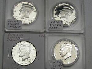 4 Silver Proof JFK Kennedy Half Dollars: 2001-s, 2002-s, 2003-s, 2005-s. #31