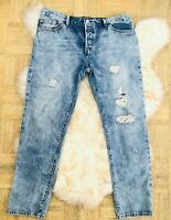Levi's 501xx 34x28 Mens Denim Distressed Jeans Button Fly Med Wash Straight Leg