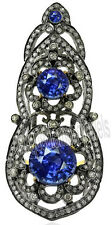Sterling Silver Victorian Look Ring 3.85ct Rose Cut Diamond Sapphire .925