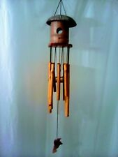 Wood & Bamboo 2 Hole Birdhouse Wind Chime  w/ Hummer Decor