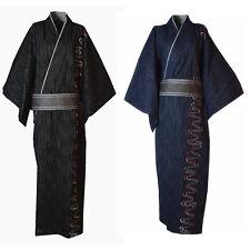 Men Yukata Kimono Robe Cotton Bathrobe Embroidery Long Japanese Style New Spring