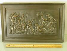 ANTIQUE BRONZE CLAD CLASSICAL FIGURAL WOMEN HUNTING SCENE WALL PLAQUE 14''