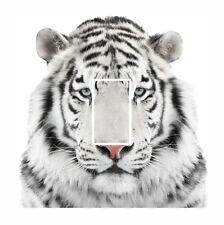 Novelty Cute White Siberian Tiger Light Switch Vinyl Sticker Cover Skin Decal
