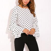 Women's Female O-Neck Long Bell Flare Sleeve Loose Polka Dot Shirt Blouse Tops