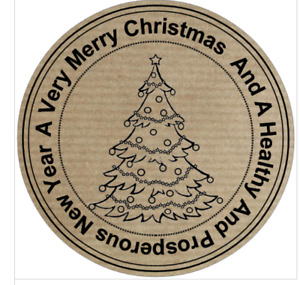 Christmas Gift Tags Present Stickers, 30 Personalised  Kraft Labels, 51 mm